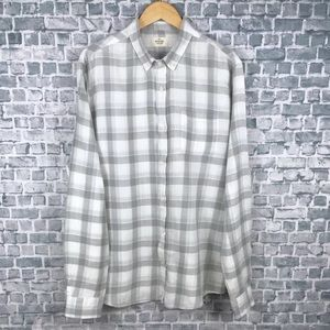 Marine Layer Mens Grey Plaid Ramie Linen Button